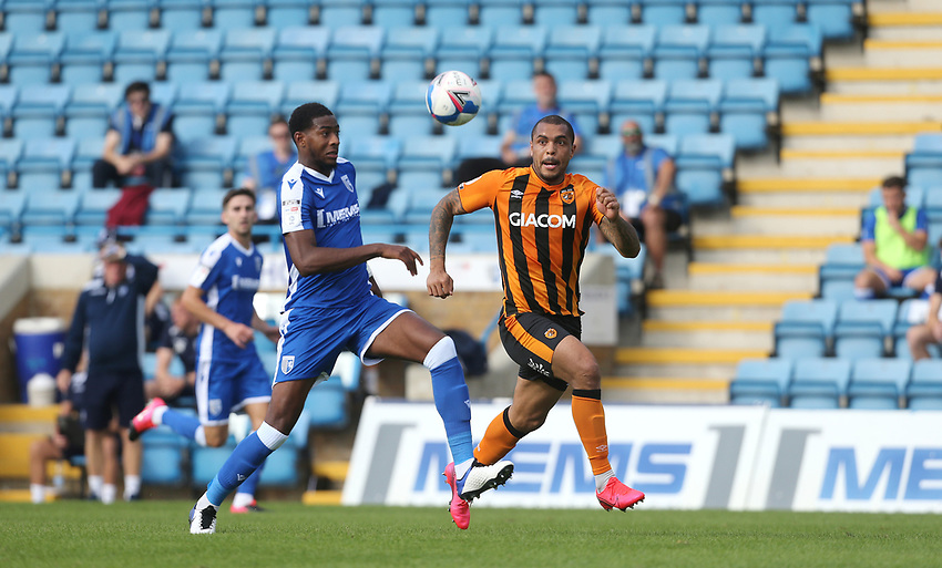 Hull City's Josh Magennis and.Gillingham's Zech Medley<br /> <br /> Photographer Rob Newell/CameraSport<br /> <br /> The EFL Sky Bet League One - Gillingham v Hull City - Saturday September 12th 2020 - Priestfield Stadium - Gillingham<br /> <br /> World Copyright © 2020 CameraSport. All rights reserved. 43 Linden Ave. Countesthorpe. Leicester. England. LE8 5PG - Tel: +44 (0) 116 277 4147 - admin@camerasport.com - www.camerasport.com