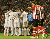 02.05.2012 SPAIN -  La Liga matchday 20th  match played between Athletic de Bilbao vs Real Madrid (0-3) at San Mames stadium, Real Madrid was proclaimed as champion of the League for 32nd time. The picture show Real Madrid CF players celebrating his team's goal