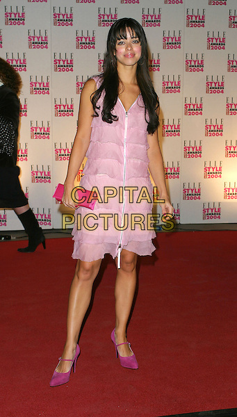 TINA BARRETT.Elle Style Awards at the Natural History Museum.16 February 2004.full length, full-length, pink frilly dress, shoes, heels, clutch bag handbag.www.capitalpictures.com.sales@capitalpictures.com.©Capital Pictures