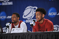 NWA Democrat-Gazette/Michael Woods --03/15/2015--w@NWAMICHAELW... University of Arkansas players Rashad Madden and Anton Beard answer questions from the media during a press conference before the Razorbacks practice at Jacksonville Veterans Memorial Arena in Jacksonville, Florida.