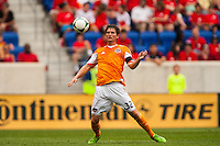 Bobby Boswell (32) of the Houston Dynamo. The New York Red Bulls defeated the Houston Dynamo 2-0 during a Major League Soccer (MLS) match at Red Bull Arena in Harrison, NJ, on June 30, 2013.