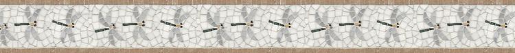 "4 1/4"" Dragonfly border, a hand-cut stone mosaic, shown in polished Cararra, Thassos, Renaissance Bronze, Emperador Dark, Spring Green, Travertine Noce."