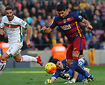 09.01.2016 Camp Nou, Barcelona, Spain. La Liga day 19 march between FC Barcelona and Granada. Luis Suarez takes a shoit on goal