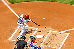 30 April 2017: Washington Nationals outfielder Jayson Werth singles to right in the first inning against the New York Mets at Nationals Park in Washington, DC. The Nationals defeated the Mets 23-5, with the Nationals setting several individual and team records, in the third game of their weekend series. Mandatory Credit: Ed Wolfstein Photo *** RAW (NEF) Image File Available ***