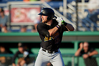 West Virginia Black Bears Luke Mangieri (17) at bat bats during a NY-Penn League game against the Batavia Muckdogs on June 27, 2019 at Dwyer Stadium in Batavia, New York.  West Virginia defeated Batavia 6-5 in ten innings.  (Mike Janes/Four Seam Images)
