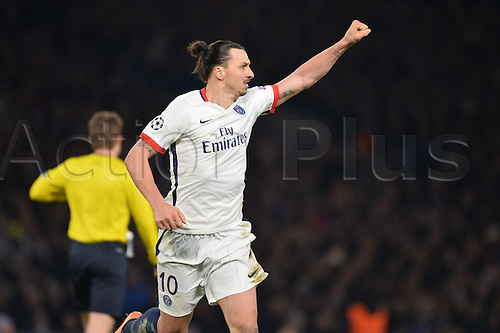 09.03.2016. Stamford Bridge, London, England. Champions League. Chelsea versus Paris Saint Germain.  ZLATAN IBRAHIMOVIC (psg) celebrates his winning goal in the 67th minute