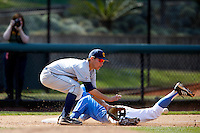 Chris Paul #6 of the California Golden Bears waits for the ball as Pat Valaika #10 of the UCLA Bruins slides into third base at Jackie Robinson Stadium on March 23, 2013 in Los Angeles, California. (Larry Goren/Four Seam Images)