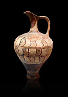 Minoan decorated jug with geometric design , Zafer Papoura 1400-1250 BC; Heraklion Archaeological Museum, black background