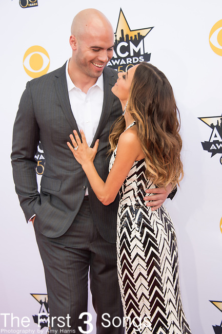 Mike Caussin and Jana Kramer attend the 50th Academy Of Country Music Awards at AT&T Stadium on April 19, 2015 in Arlington, Texas.