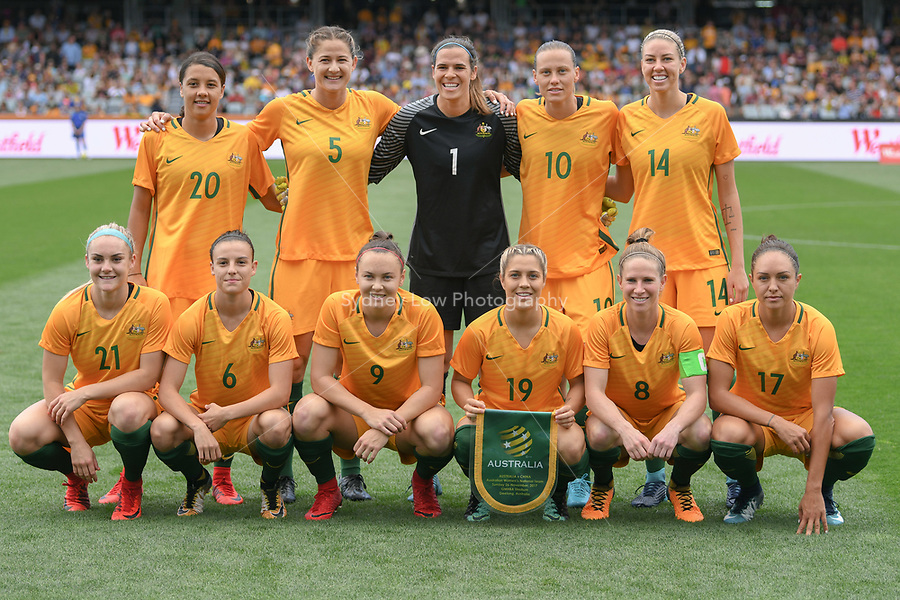 26 November 2017, Melbourne - The Australian Matildas pose for a team photograph during an international friendly match between the Australian Matildas and China PR at GMHBA Stadium in Geelong, Australia.. Australia won 5-1. Photo Sydney Low