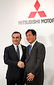 October 20, 2016, Tokyo, Japan - Nissan Motor chairman Carlos Ghosn (L) shakes hands with Mitsubishi Motors president Osamu Masuko as they announce Mitsubishi joins Renault-Nissan alliance  at a press conference in Tokyo on Thursday, October 20, 2016. Ghosn will become chaiman of Mitsubishi Motors and Masuko will stay current position.   (Photo by Yoshio Tsunoda/AFLO) LWX -ytd-
