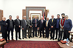 Palestinian President Mahmoud Abbas, honors the recipients of the State Appreciation Award for literature, Arts and Culture, in the West Bank city of Ramallah on January 9, 2020. Photo by Thaer Ganaim