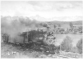 3/4 engineer's-side view of D&amp;RGW #315 near Ridgway with a caboose and stock car.<br /> D&amp;RGW  Ridgway, CO  Taken by Jackson, Richard B. - 7/1/1940