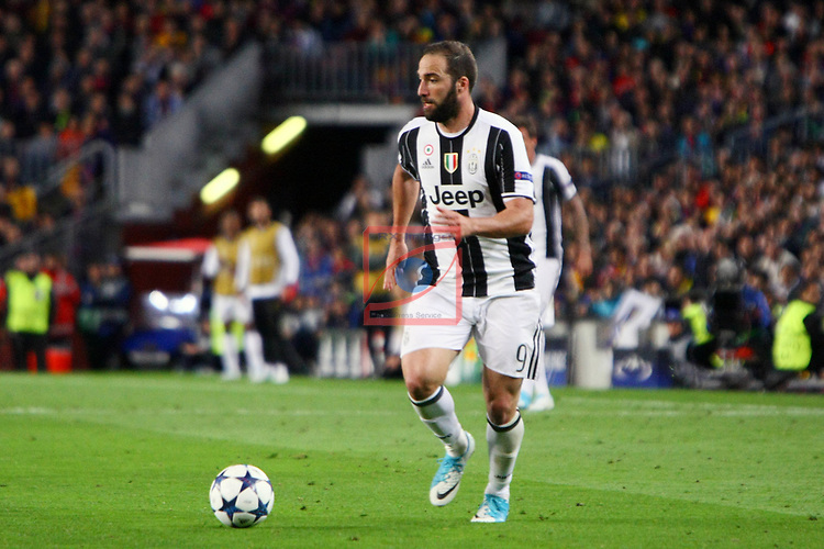 UEFA Champions League 2016/2017.<br /> Quarter-finals 2nd leg.<br /> FC Barcelona vs Juventus Football Club: 0-0.<br /> Gonzalo Higuain.