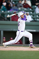 Center fielder David Webel (5) of the Furman Paladins bats in a game against the South Carolina Gamecocks on Tuesday, March 19, 2019, at Fluor Field at the West End in Greenville, South Carolina. South Carolina won, 12-7. (Tom Priddy/Four Seam Images)
