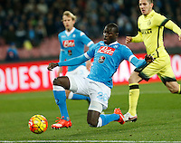 Napoli's Kalidou Koulibaly controls the ball during the Quartef-final of Tim Cup soccer match,between SSC Napoli and vFC Inter    at  the San  Paolo   stadium in Naples  Italy , January 19, 2016