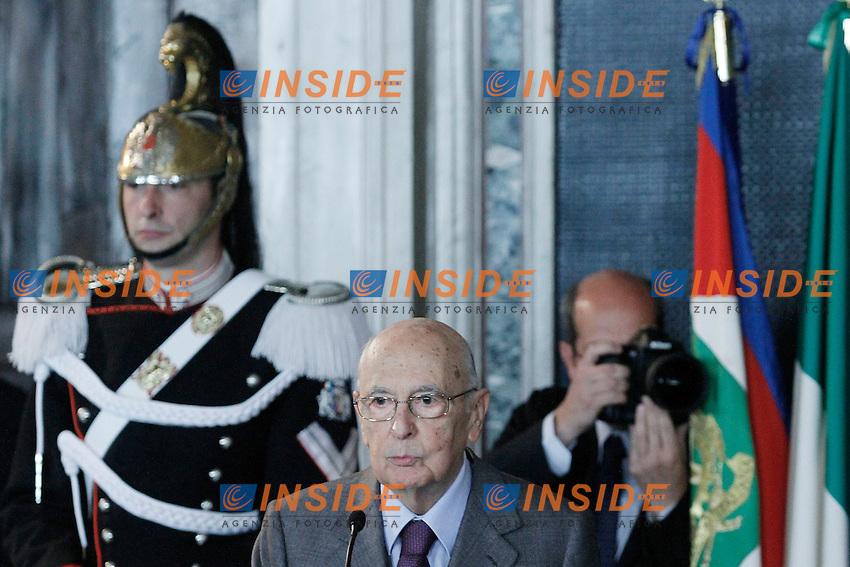 Il Presidente della Repubblica Giorno Napolitano.Roma 03/04/2012 Presentazione dei David di Donatello 2012 al Quirinale.Foto Serena Cremaschi Insidefoto