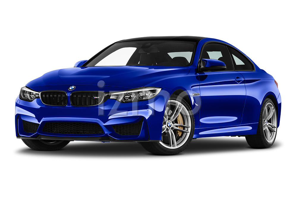 Stock pictures of low aggressive front three quarter view of a 2018 BMW M4 M4 CS 2 Door Coupe