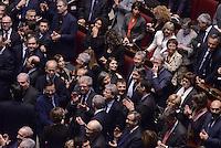 Roma, 31 Gennaio 2015<br /> Camera dei Deputati.<br /> Zanda, Fassina, Gentiloni<br /> Alla quarta votazione viene eletto Sergio Mattarella a Presidente della Repubblica. <br />  Applausi per l'elezione.