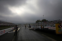 Oct 6, 2013; Mohnton, PA, USA; Overall view of the starting line of Maple Grove Raceway prior to the NHRA Auto Plus Nationals. Mandatory Credit: Mark J. Rebilas-
