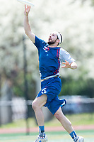 "Washington, DC - APR 22, 2018: DC Breeze Brad Scott (5) catches a pass during AUDL game between DC Breeze and the Ottawa Outlaws. The DC Breeze get the win 26-19 over Ottawa in the Battle of the Capitals"" at Catholic University Washington, DC. (Photo by Phil Peters/Media Images International)"