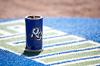 The Rancho Cucamonga Quakes bat weight rests on the on deck mat during a California League game against the Stockton Ports at Banner Island Ballpark on May 17, 2018 in Stockton, California. Stockton defeated Rancho Cucamonga 2-1. (Zachary Lucy/Four Seam Images)