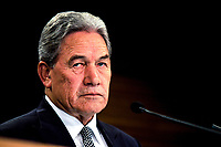 Deputy Prime Minister of New Zealand JWinston Peters speaks to the media during a Post Cabinet media press conference at Parliament on March 18th, 2019.