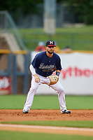 Mississippi Braves third baseman Daniel Lockhart (17) during a Southern League game against the Jacksonville Jumbo Shrimp on May 4, 2019 at Trustmark Park in Pearl, Mississippi.  Mississippi defeated Jacksonville 2-0.  (Mike Janes/Four Seam Images)