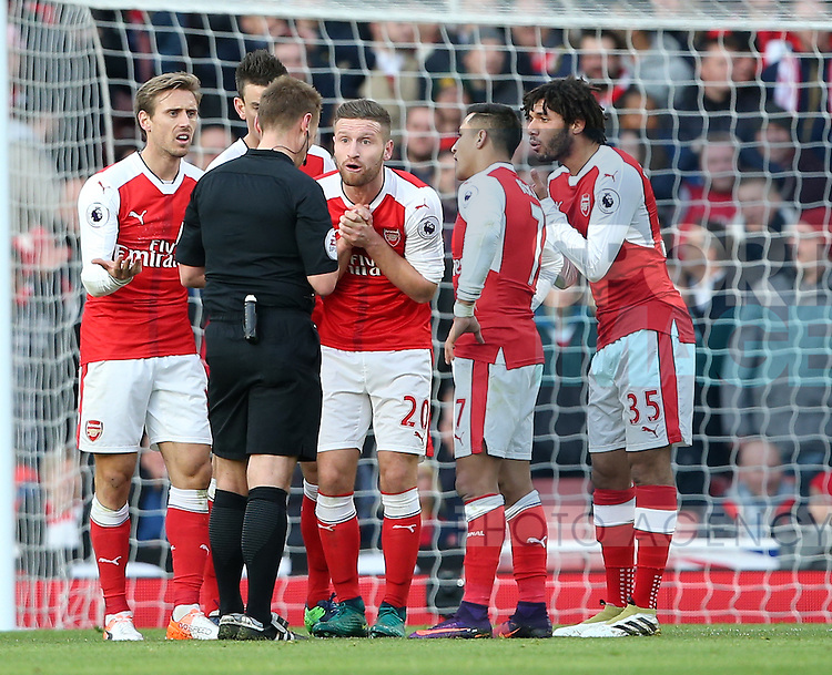 Arsenal's Shkodran Mustafi complains after the award of a penalty during the Premier League match at the Emirates Stadium, London. Picture date October 26th, 2016 Pic David Klein/Sportimage