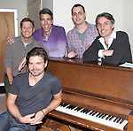 Hunter Foster with Martin Moran, Joseph Thalken, Paul Masse and Jonathan ButterellButterellrehearsing for  'Borrowed Dust' part of  'Inner Voices' A Trilogy about Intimate Explorations of Courage, Loss and Acceptance at the MTC Studios on 10/23/2012 in New York City.