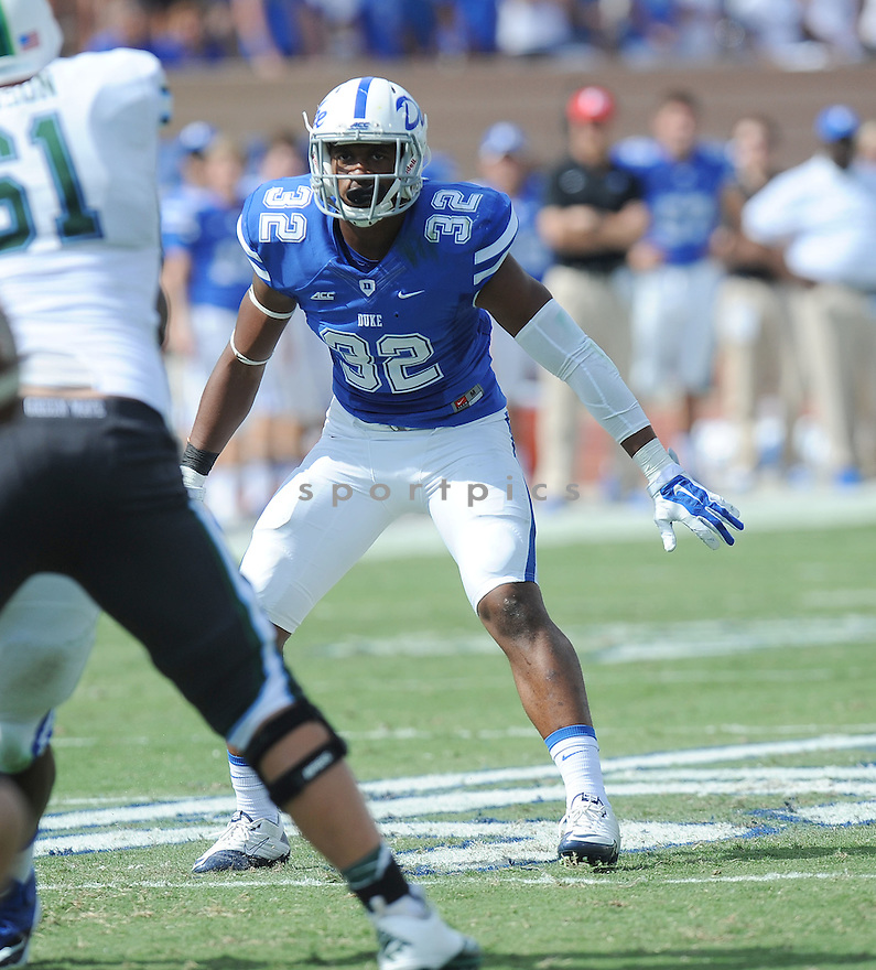 Duke Blue Devils Chris Holmes (32) during a game against the Tulane Green Wave on September 20, 2014 at Wallace Wade Stadium in Durham, NC. Duke beat Tulane 47-13.
