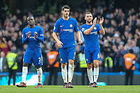 Ngolo Kante of Chelsea, Alvaro Morata of Chelsea and Daniel Drinkwater of Chelsea after the Premier League match between Chelsea and Newcastle United at Stamford Bridge, London, England on 2 December 2017. Photo by David Horn.