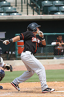 Delmarva Shorebirds outfielder Jeremy Nowak #35 at bat during a game against the Charleston Riverdogs at Joseph P. Riley Ballpark in Charleston, South Carolina on July 10, 2011. Charleston defeated Delmarva 2-0.  Robert Gurganus/Four Seam Images