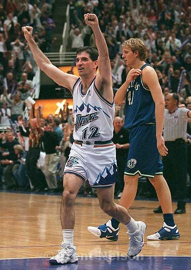 (ALTERNATE CROP) John Stockton celebrates victory at Jazz vs. Dallas Mavericks, game 1, first round NBA Playoffs. Jazz won.<br />