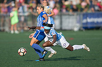 Allston, MA - Saturday August 19, 2017: Adriana Leon, Jasmyne Spencer during a regular season National Women's Soccer League (NWSL) match between the Boston Breakers and the Orlando Pride at Jordan Field.