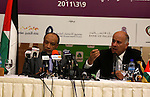 President of the Asian Football Confederation (AFC) Mohamed Bin Hammam and Palestinian Football Association chairman Jibril Rajoub give a news conference in the West Bank city of Ramallah on March 9, 2011 on the upcoming football match qualifier for the Asian group of the 2012 London Olympics between the Palestinian and Thai national soccer teams, the first-ever international qualifier on Palestinian land. Photo by Issam Rimawi