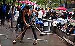 NewYork, United States, October 13, 2011..Protesters affiliated with the Occupy Wall Street movement, clean and pack their stuff before a call of the park's owner to clean Zuccotti park next Friday in New York October 13, 2011. VIEWpress / Eduardo Munoz Alvarez..The protesters' response was to plan a demonstration for an hour before they are supposed to evacuate Zuccotti Park while it is cleaned with power washers Friday morning. They believe the effort is an attempt to end the protest, which triggered a movement against unequal distribution of wealth that has spread across the globe. Local Media Informed