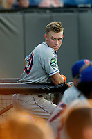 Kingsport Mets outfielder Jarred Kelenic (20) in the dugout during a game against the Burlington Royals at Burlington Athletic Complex on July 28, 2018 in Burlington, North Carolina. Burlington defeated Kingsport 4-3. (Robert Gurganus/Four Seam Images)