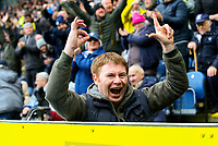 A Preston North End fan taunts Blackburn Rovers fans after his side took the lead<br /> <br /> Photographer Alex Dodd/CameraSport<br /> <br /> The EFL Sky Bet Championship - Blackburn Rovers v Preston North End - Saturday 9th March 2019 - Ewood Park - Blackburn<br /> <br /> World Copyright © 2019 CameraSport. All rights reserved. 43 Linden Ave. Countesthorpe. Leicester. England. LE8 5PG - Tel: +44 (0) 116 277 4147 - admin@camerasport.com - www.camerasport.com