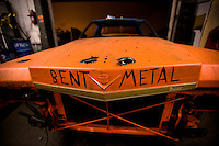Demolition Derby. The Crash for Cause team constructs a derby car for an upcoming event. The team is working in a metal fabrication shop named Bent Metal Fabrication owned by Damein Fabrizio. Fountain Vally, Orange County, Southern California, California, United States, North America. October 2008, ©Stephen Blake Farrington