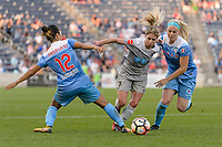 Bridgeview, IL - Sunday September 03, 2017: Yuki Nagasato, Mccall Zerboni, Julie Ertz during a regular season National Women's Soccer League (NWSL) match between the Chicago Red Stars and the North Carolina Courage at Toyota Park. The Red Stars won 2-1.