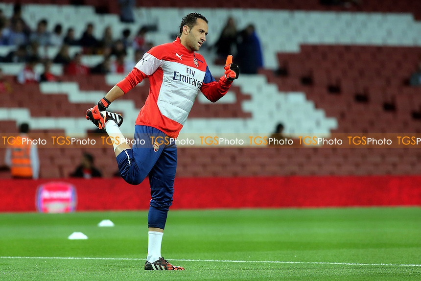 Arsenal goalkeeper, David Ospina, gets ready to make his debut - Arsenal vs Southampton - Capital One Cup Third Round Football at the Emirates Stadium, London - 23/09/14 - MANDATORY CREDIT: Paul Dennis/TGSPHOTO - Self billing applies where appropriate - contact@tgsphoto.co.uk - NO UNPAID USE
