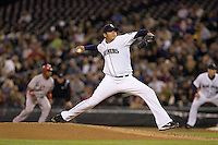 September 24, 2008: Seattle Mariners' Felix Hernandez unleashes a pitch against the Los Angeles Angels of Anaheim at Safeco Field in Seattle, Washington..