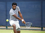 June 11th 2017, Nottingham, England; ATP Aegon Nottingham Open Tennis Tournament day 2;  Backhand from Takanyi Garanganga of Zimbabwe who completed his rain delayed match with victory over Luke Bainbridge of Great Britain