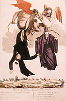 """French Revolution:  Anti-Clericalism. """"The Two Infuriated Devils"""" 1790. The clergymen who castigated the National Assembly for refusing to recognize Catholicism as the national religion.  Reference only."""