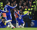 Chelsea's Eden Hazard celebrates scoring his sides second goal during the Barclays Premier League match at Stamford Bridge Stadium.  Photo credit should read: David Klein/Sportimage