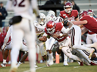 NWA Democrat-Gazette/CHARLIE KAIJO Arkansas quarterback K.J. Jefferson (13) runs the ball for a score, Saturday, November 2, 2019 during the fourth quarter of a football game at Donald W. Reynolds Razorback Stadium in Fayetteville. Visit nwadg.com/photos to see more photographs from the game.