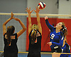 Shelter Island No. 9 Margaret Michalak, right, attempts to spike during the Suffolk County varsity girls' volleyball Class D final against Pierson at Suffolk Community College Grant Campus on Monday, November 9, 2015. Shelter Island won 25-9, 25-4, 25-13.