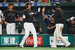 (L-R) Shogo Akiyama, Sho Nakata (JPN), <br /> MARCH 12, 2017 - WBC : 2017 World Baseball Classic Second Round Pool E Game between <br /> Japan 8-6 Netherlands <br /> at Tokyo Dome in Tokyo, Japan. <br /> (Photo by Sho Tamura/AFLO SPORT)