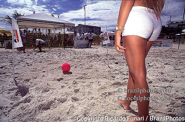 Rio de Janeiro, Brazil...Women play beach soccer.